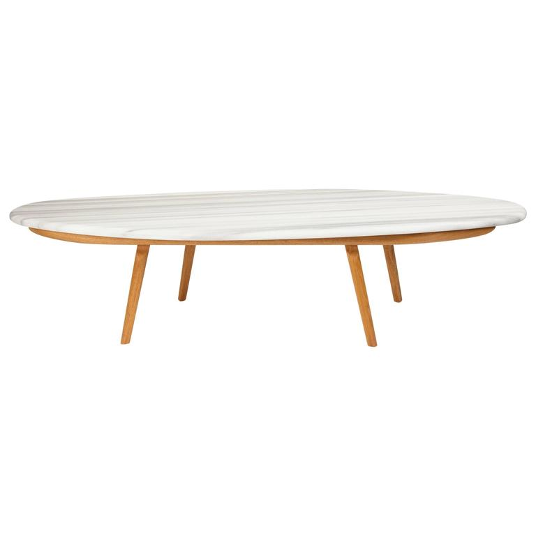 Contemporary Marble and Solid Mahogany Wood Coffee Cocktail Table CBR Studio