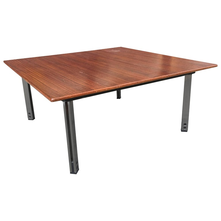 Italian Rosewood and Aluminum Low Coffee Table For Sale