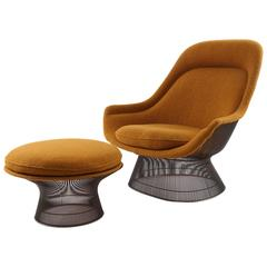 Warren Platner for Knoll Bronze Throne Chair and Ottoman