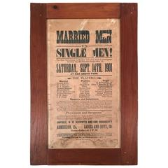 Rare Baseball Game Broadside, Married Versus Single Men, circa 1901