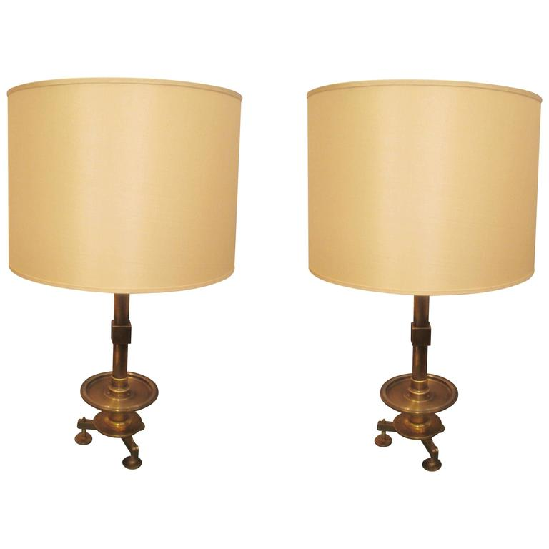 Pair of Modern Sculptural Bronze Lamps with Silk Shades at ...