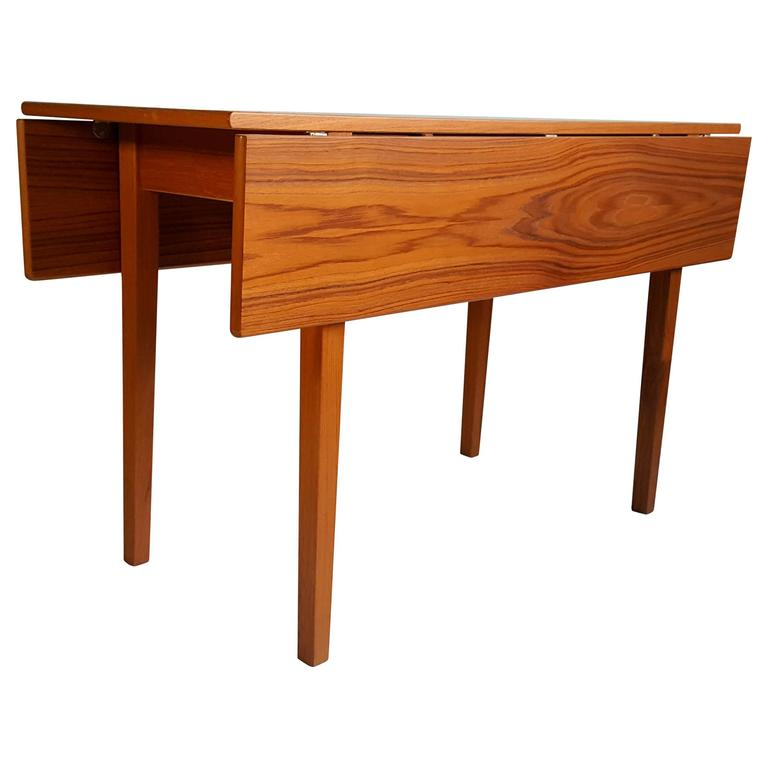 Handsome Teak Drop-Leaf Dining or Breakfast Table, ABJ Made in Denmark