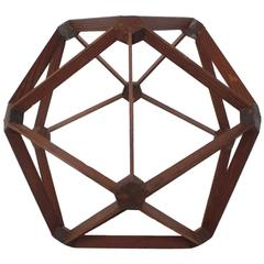 Mid-Century Wood Molecule Sphere Sculpture