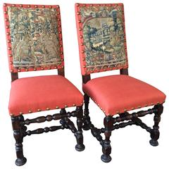 Rare Pair of 17th Century Louis XIV Period Side Chairs