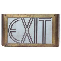 Art Deco Theater Brass and Glass Exit Light