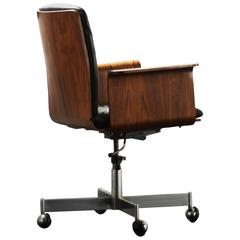 Jorgen Rasmussen Rosewood and Black Leather Desk or Office Chair, Denmark, 1960s