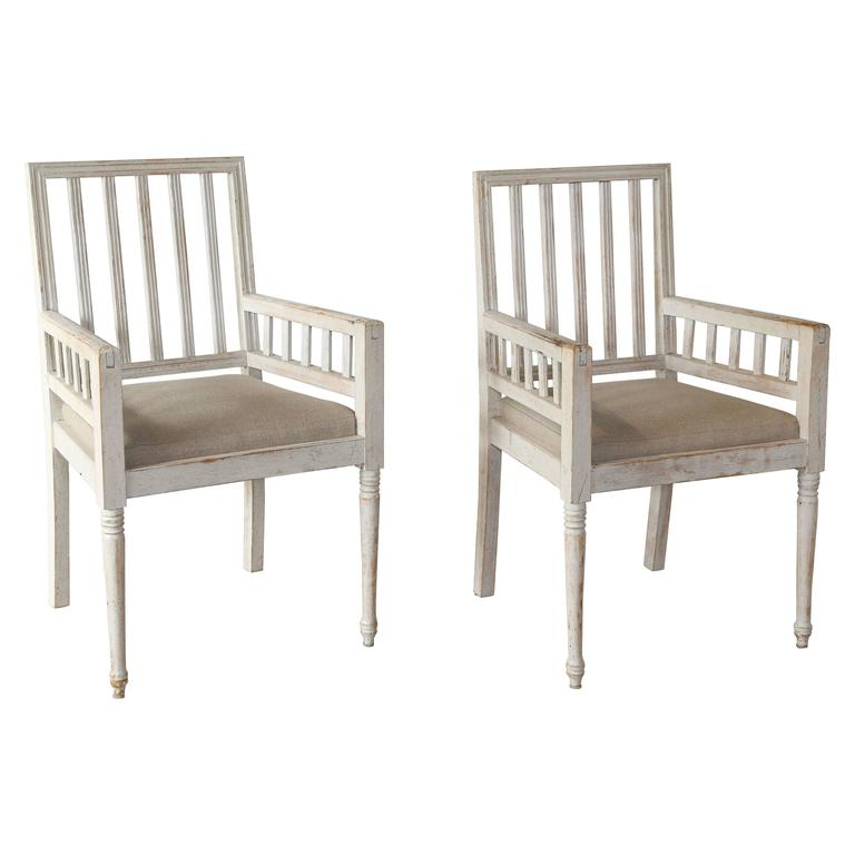Pair of 19th Century Swedish Chairs with Libeco Linen
