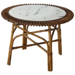 Low Round Bamboo Side Table with Glass top