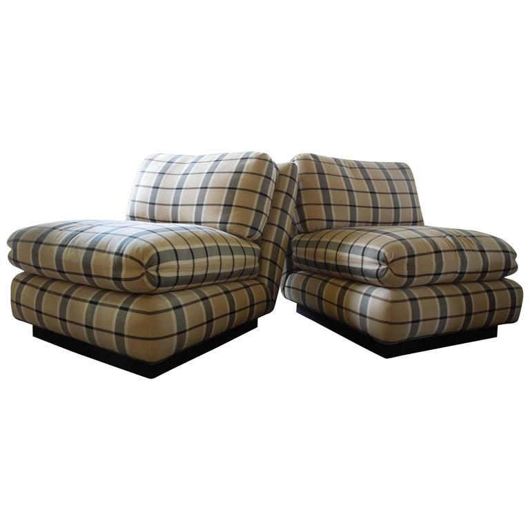 Pair Of Marge Carson 1980s Silk Blend Plaid Slipper Chairs