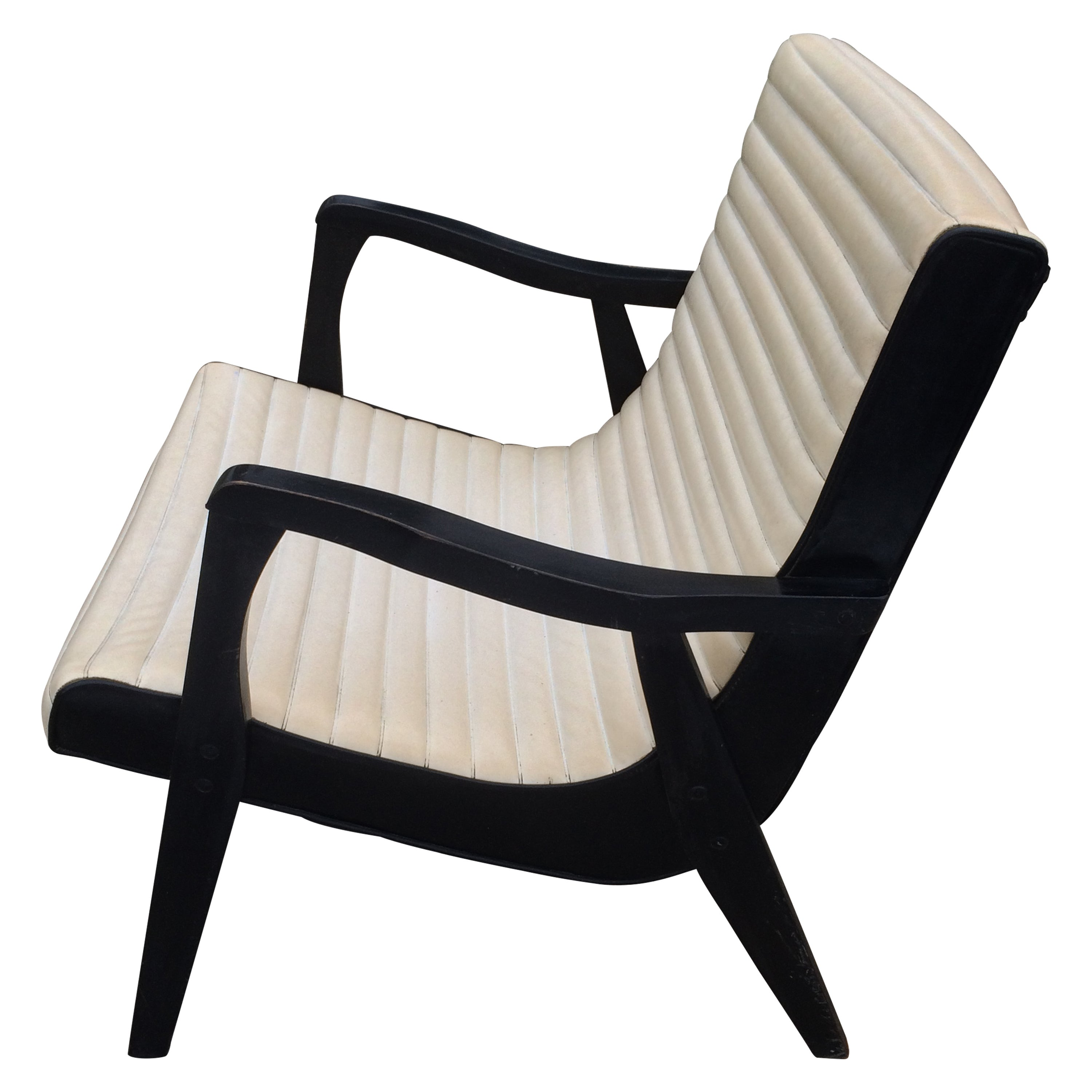 Mid-Century Black and Ivory Vinyl Lounge Chair