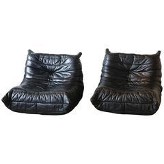 Togo Black Leather Chair Michel Ducaroy, Ligne Roset
