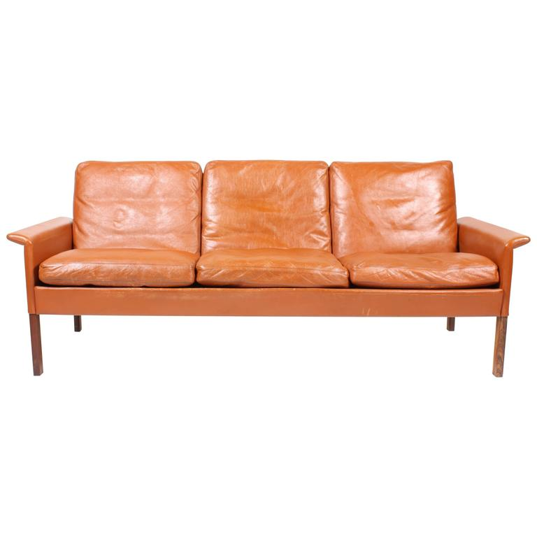 Hans Olsen Sofa in Patinated Leather For Sale