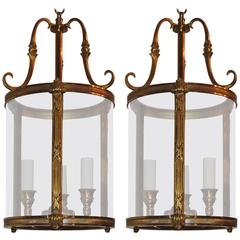 Petite Pair of Gilt Bronze Readed X-Pattern Curved Glass Lanterns Fixtures