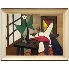 1950s Abstract Oil on Canvas Unknown Artist Cubist Style