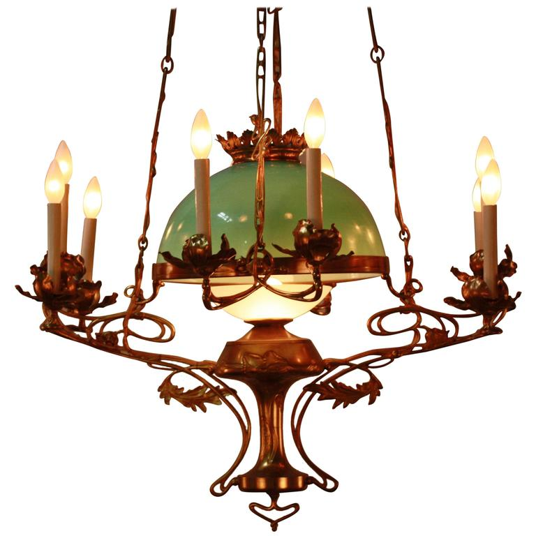 19th century french art nouveau chandelier at 1stdibs for Chandelier art nouveau