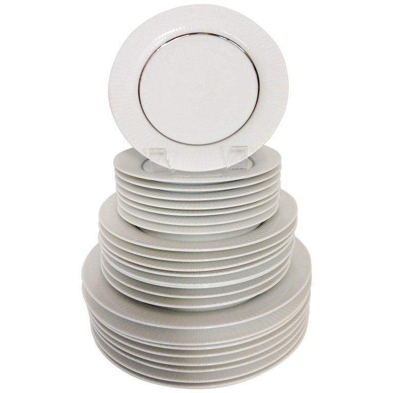 1960'S German Porcelain & Platinum Dinnerware Set of 24 by, Rosenthal