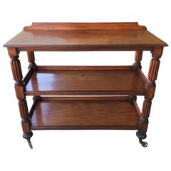 English Etagere, What Not with Fluted Legs on Casters