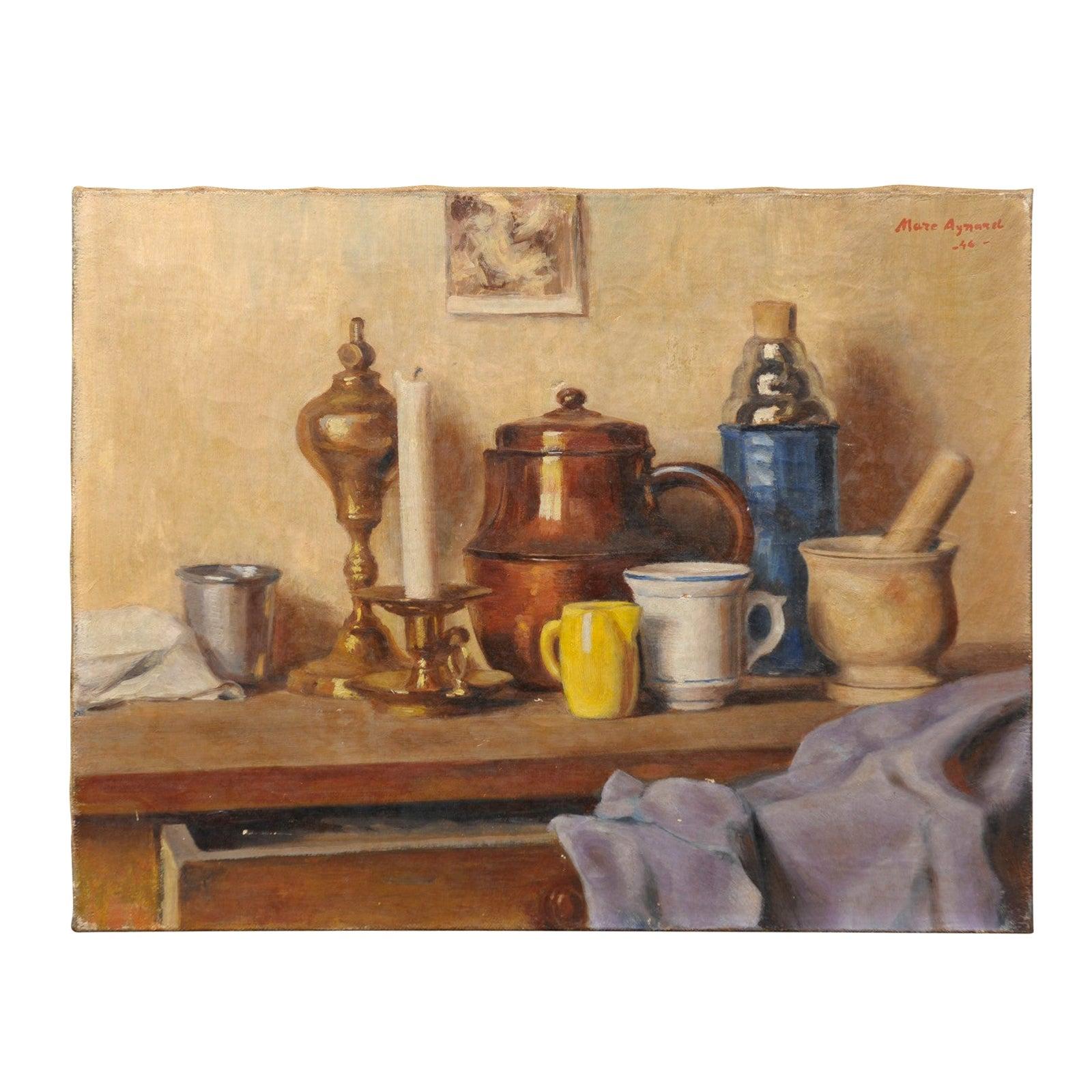 Oil on Canvas Still Life Painting, Mid-20th Century