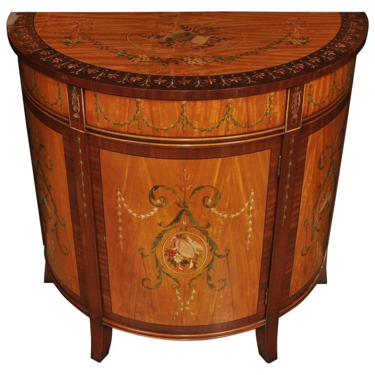 Sheraton style painted demilune cabinet regency satinwood for What is sheraton style furniture