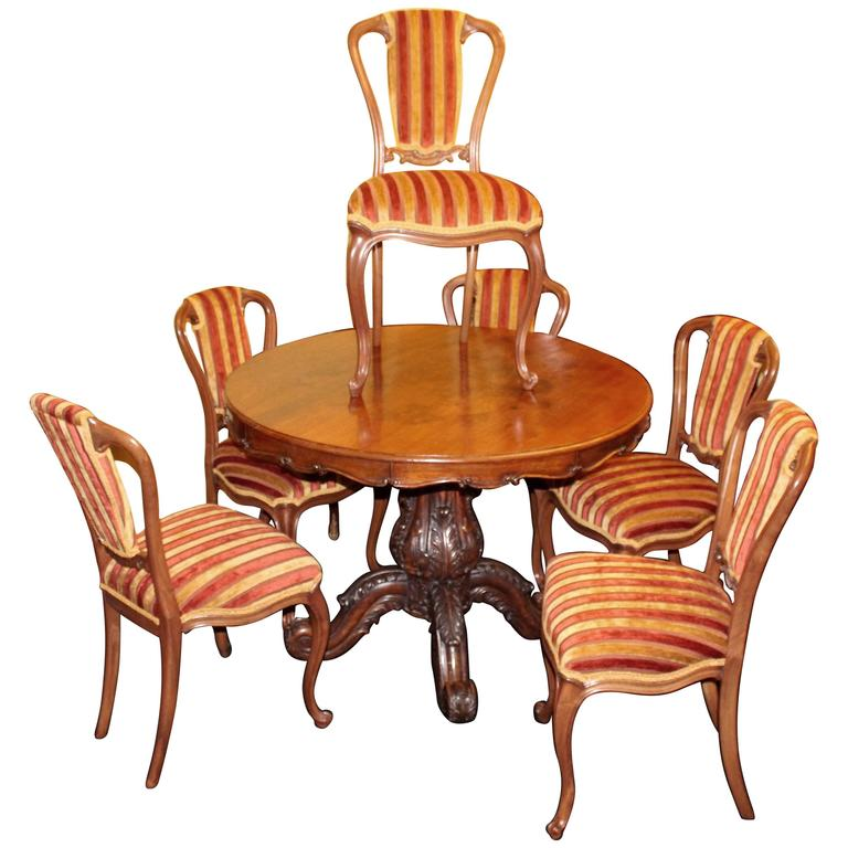 Set of six 19th century walnut striped upholstered dining for Striped upholstered dining chairs