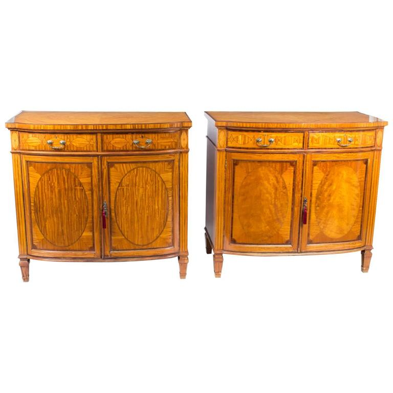 Antique pair of satinwood commodes cabinets maple and co for 1880 kitchen cabinets