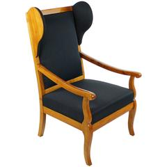 Ear Forecastle Armchair, Biedermeier circa 1830, Cherry Tree, Blue Seat Cover