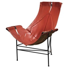 Leathercrafter Sling Chair in Brown Leather on Tri-Leg Base, USA, 1960s
