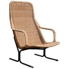 1961 Dirk Van Sliedrecht, Rare 514 Original Wicker Lounge Chair with Black Base