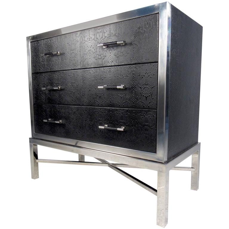 Contemporary Modern Chrome and Faux Snakeskin Chest of Drawers 1. Contemporary Modern Chrome and Faux Snakeskin Chest of Drawers For