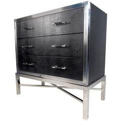 Contemporary Modern Chrome and Faux Snakeskin Chest of Drawers