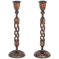 Antique Pair of Antique Kashmiri Candlesticks