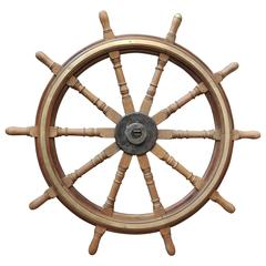 19th Century Very Large Teak Ship's Wheel
