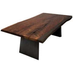 Contemporary Claro Walnut Live Edge Table with Cast Bronze Edge