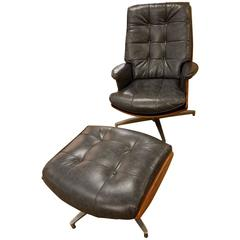 Heywood-Wakefield Swivel Lounge Chair with Ottoman