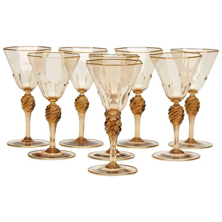 Eight Art Deco Murano MVM Cappellin Amber Wine Glasses, circa 1925 For Sale