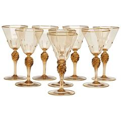 Eight Art Deco Murano MVM Cappellin Amber Wine Glasses, circa 1925