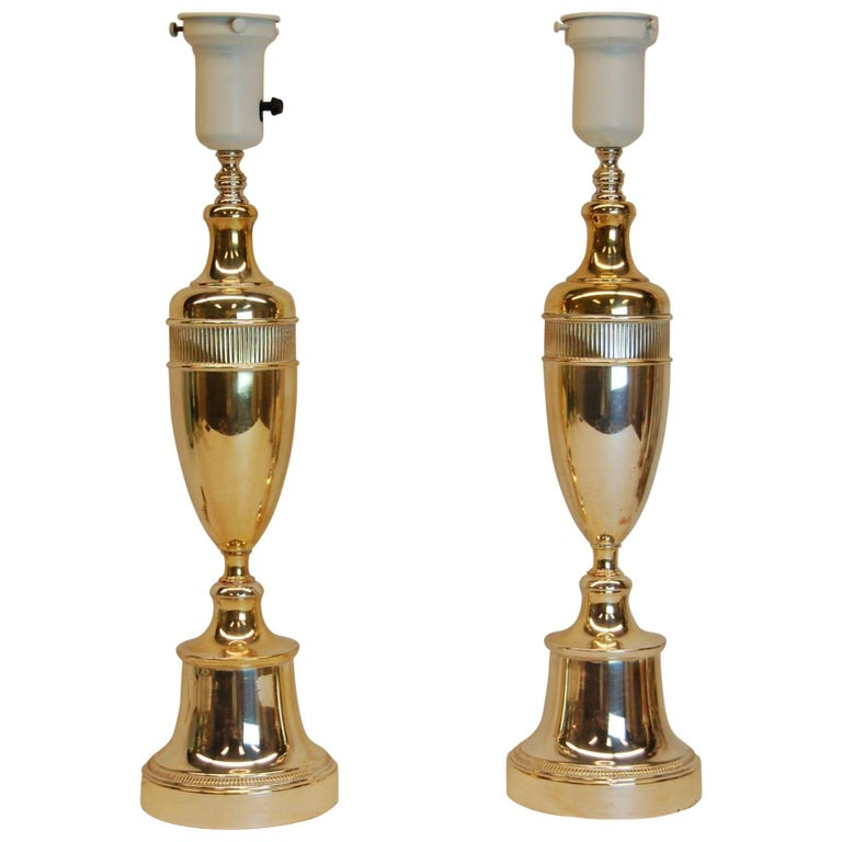 Pair of Art Deco Period Silver Plated Urn Lamps, circa 1940s For Sale