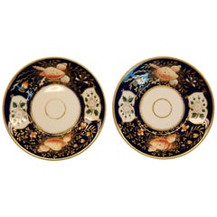 Pair Cobalt Blue Porcelain Plates w/ Seashell and Floral Motif, mid-19th Century