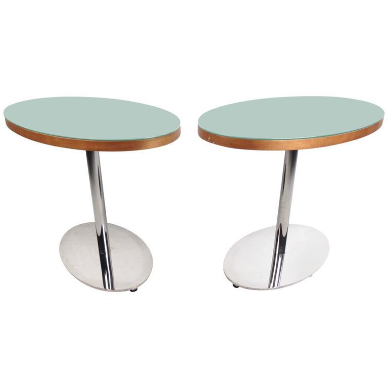 Pair of Modern Glass Top Pedestal Tables