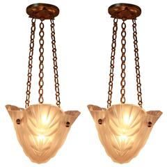Pair of French Art Deco Chandeliers, 1930s by Degue