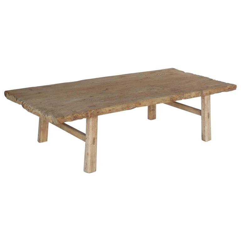 Japanese Elm Wood Coffee Table With Natural Driftwood