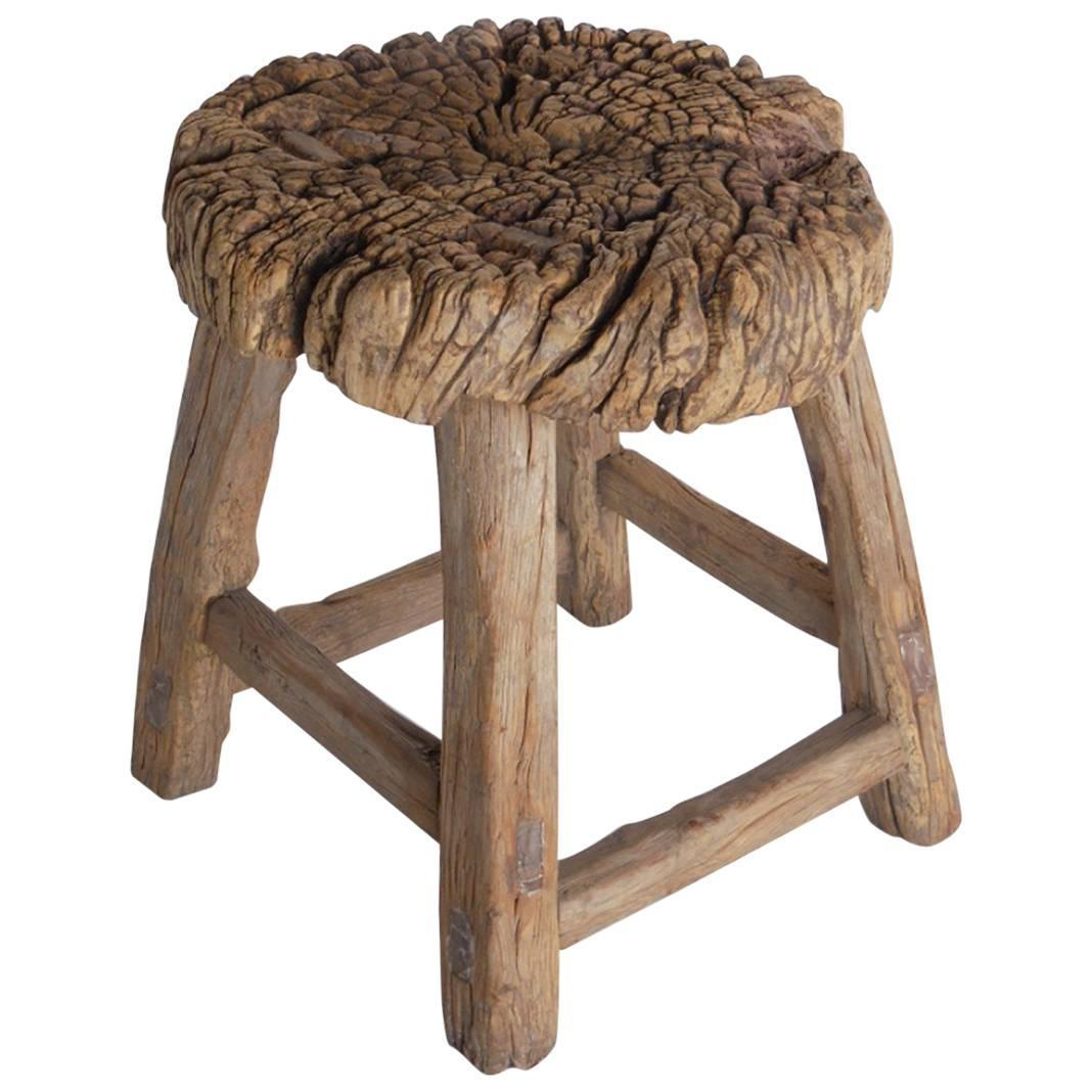 Wooden Japanese Stools ~ Th century japanese rustic elmwood stool for sale at stdibs