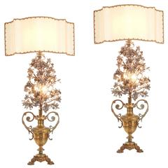 Pair of 1820 French Flower Lamps with Fine Beadwork