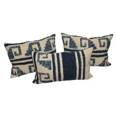Group of Three Alpaca Indian Weaving Pillows