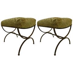 Pair of French, Mid-Century Modern X-Frame Gilt Iron Benches by Maison Ramsay