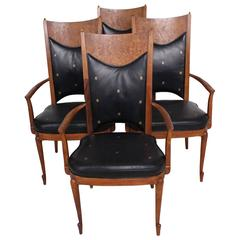 Mid-Century Set  Four Dining Chairs Walnut and Leather Attributed to Heritage