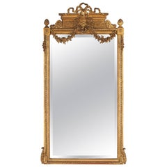 Louis XVI Style Gold Leaf Beveled Mirror, circa 1930s