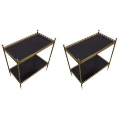 Iconic Pair of Double Level Side Tables by Maison Jansen