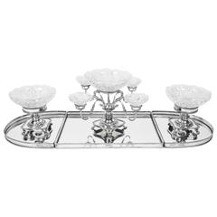 English Silver Plate and Glass Epergne Centrepiece Set
