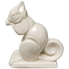 French Art Deco Craquelé or Crackle Ceramic Squirrel A.M.C